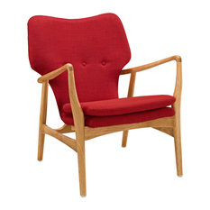 Modern Contemporary Lounge Chair, Red Fabric