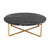 Rosa Round Marble Coffee Table, Black Marble Top, Brushed Gold Base