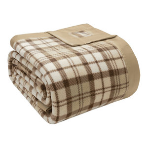 True North by Sleep Philosophy Micro Fleece Blanket Tan Plaid Twin
