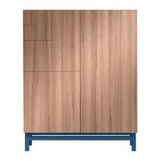 Walnut-Effect Shoe Storage Cabinet, Ocean Blue Base