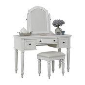Vanity Table Set in White Finish