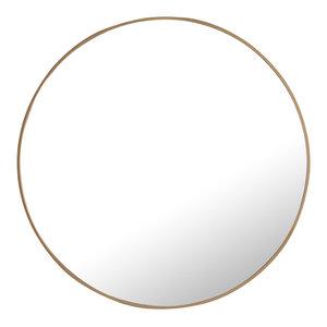 """36"""" Round Metal Frame Mirror, Brass"""