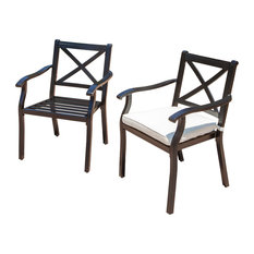 Gdfstudio Eowyn Outdoor Cast Aluminum Dining Chairs Water Resistant Cushions Set Of 2