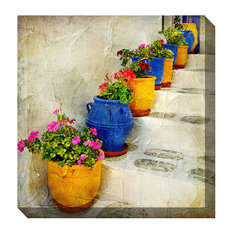 West of the Wind Outdoor Canvas Wall Art, Bright Pots