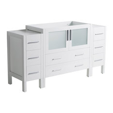 "Torino 54"" Modern Bathroom Cabinet, Cabinet Base Only, Base: White"