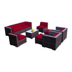 Ohana 10-Piece Deep Seating Sectional Set, Sunbrella Jockey Red, Mixed Brown