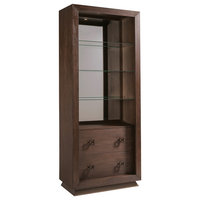 Apogee Modern 3-Glass Shelves Drawers Brown Wood Closed Back Bookcase