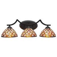 "Zilo 3 Light Bath Bar With 7"" Persian Nites Tiffany Glass"
