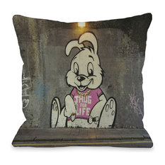 """""""Thug For Life Bunny Graffiti"""" Indoor Throw Pillow by Banksy, 18""""x18"""""""