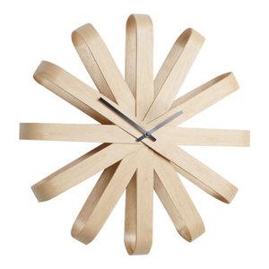 Umbra Ribbonwood Wall Clock, Beechwood