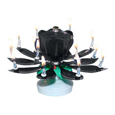 Lotus Flower Musical Candle, Pack of 3, Black