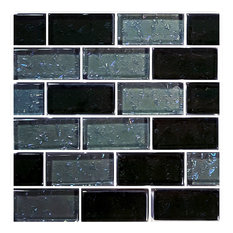 "12""x12"" Glass Tile Blends Galaxy Series, Slate"