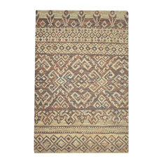 Natural Hemp Tribal Design Leather Area Rug, 8x10 Geometric Neutral Brown Tan