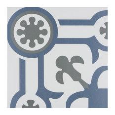 "SomerTile 9.75""x9.75"" Hidraulic Ducados Porcelain Floor/Wall Corner Tile, Angulo"