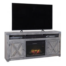 Aspenhome Urban Farmhouse DF1904 72-inch Fireplace Console Smokey Grey