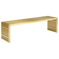 Gridiron Large Stainless Steel Bench, Gold