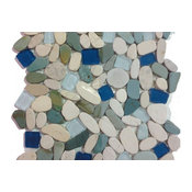 """12""""x12"""" Sea Glass Tile and Pebbles Indah Shaved Mosaic Blend, Set of 10"""