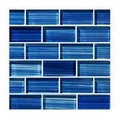 "12""x12"" Glass Tile Blends Watercolors Series, Caribbean Blue"