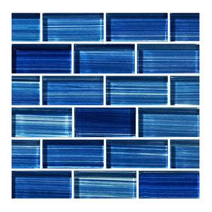 "12""x12"" Glass Tile Blends Watercolors Series, Caribbean Blue"