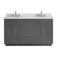 "Avanity Austen 61"" Vanity, Twilight Gray/Gold With White Quartz Top"