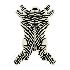 Black Safari Zebra Rug, 5'x8'