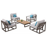 Babmar Modern Outdoor Furniture - TRIBECA Chair Set for 4 and Rectangular Coffee Table - One of Babmar's most popular outdoor furniture sets from the exclusive Tribeca collection. This set is designed to sit up to 4 individuals comfortably. There is no better way to relax outdoors in comfort and style than with Babmar.