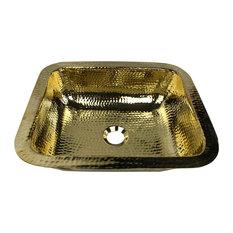 "Nantucket Sinks 17.5""x14.5"" Rectangle Undermount Bar Sink, Polished Brass"