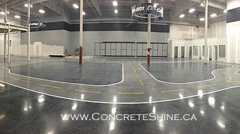 Concrete decorative finishing and installation of reference lines