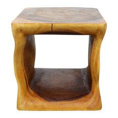 "Haussmann Natural Cube 16""x16""x16"" Eco Wood End Table, Livos Oak Oil"