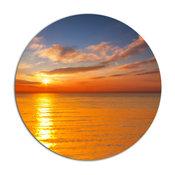 "Beautiful Sunset Reflecting In Sea, Seashore Round Metal Wall Art, 11"""