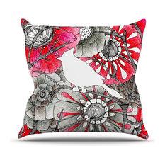 """Anchobee """"Cardinal"""" Red Black Outdoor Throw Pillow"""
