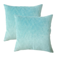 Idarine Solid Throw Pillows, Set of 2, Turquoise