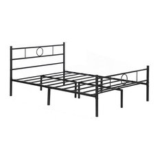 Queen Size Bed Frame, Classic Headboard With Round Accent, Black