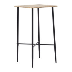 VidaXL Bar Table Oak 23.6-inch MDF Square Kitchen Dining Room Bistro Table Stand