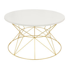 Mendel Round Rose Gold Metal Coffee Table, White