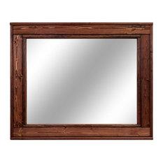 """Herringbone Stained Vanity Mirror, Red Oak, 30""""x42"""", Vertical"""