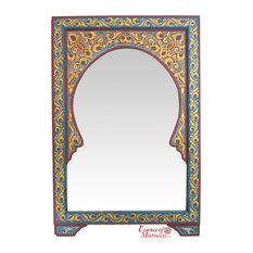 Moroccan Mirror Arabesque Wood Blue Burgundy Handmade Limited Edition