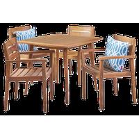 GDF Studio 5-Piece Zack Outdoor Wood Dining Set With Straight Legged Table, Teak
