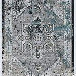 Linon Home D�cor Products - Parcel Weston Rug, Gray, 2'x3' - The Parcel Collection offers a distressed vintage twist on classic designs.  These rugs features shrink yarns in the pile to give the appearance of height to a flat pile.  The distressed nature of the designs allows the normally traditional looks to take on more of a transitional feel when paired with the modern grey color palette.  These rugs are 100% Polyester and Power Loomed in Turkey.