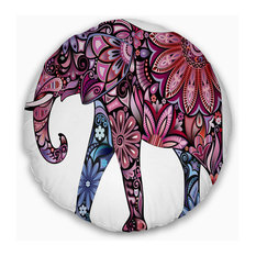 "Purple Cheerful Elephant Animal Throw Pillow, 20"" Round"
