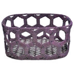Jo-Liza International - Honeycomb Basket Eggplant - honeycomb design handwoven wrought iron with seagrass in purple
