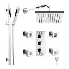 "Thermostatic Shower System Chrome With 7"" Rain Head Handspray Rail Kit & 4 Jets"