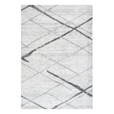 Contemporary Striped Polypropylene Rug, Gray, 9'x12'