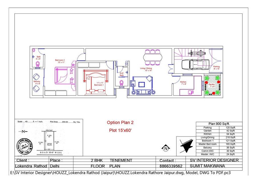 2bhk Home Floor Plan Option 2