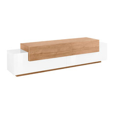 Asia 1-Drawer TV Unit, White and Natural Oak