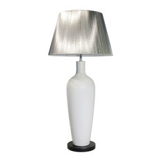 Monza Ceramic Table Lamp, White and Silver