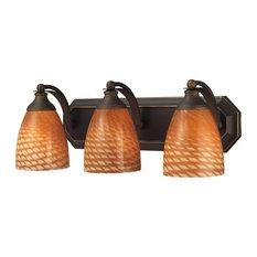 Vanity 3-Light Bathbar in Aged Bronze and Coco Glass