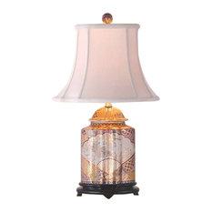 "Chinese Porcelain Satsuma Style Scalloped Ginger Jar Table Lamp 22"""