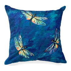 """Liora Manne Illusions Dragonflies Indoor/Outdoor Pillow, Midnight, 18"""" Square"""