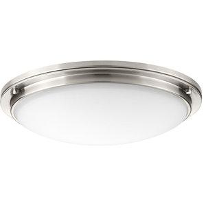 "Apogee 21"" 45W 1 LED Flush Mount Brushed Nickel Etched Glass"